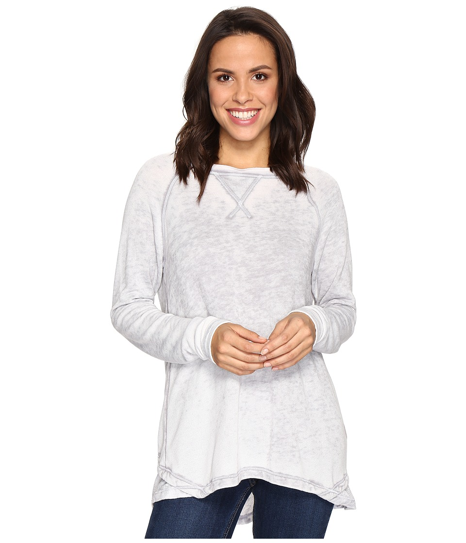 Allen Allen - Double Layer Open Back Crew with Lace (Pale Grey) Women's Clothing
