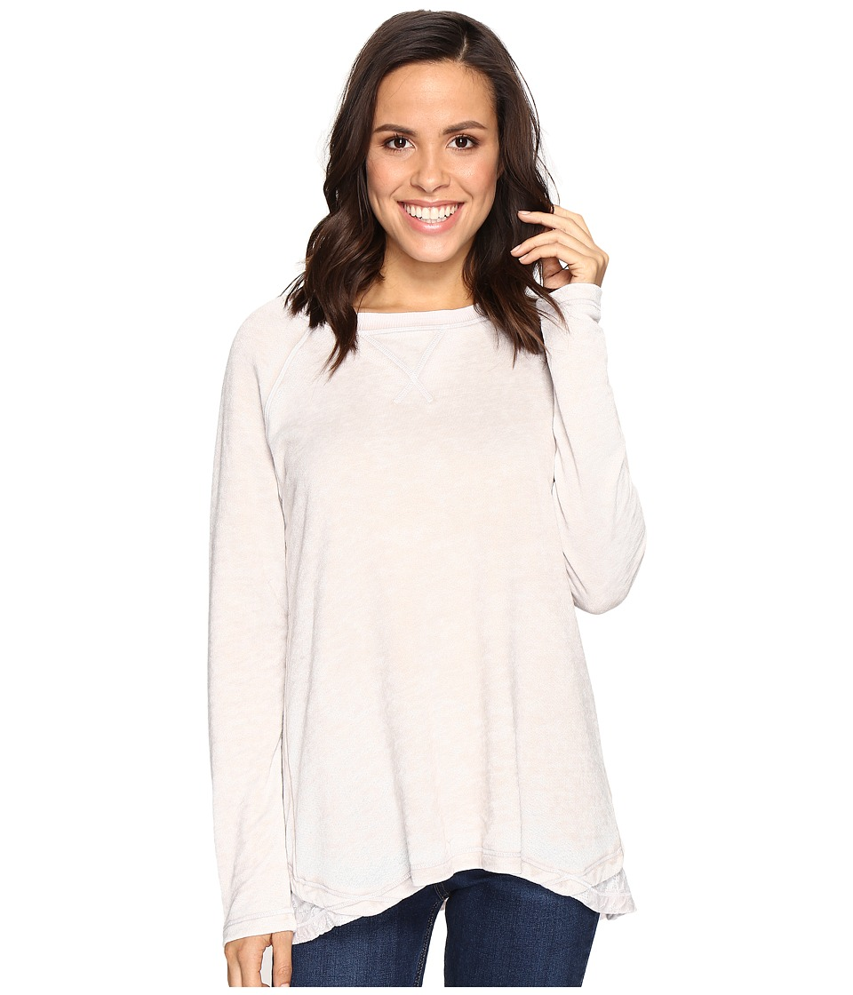 Allen Allen - Double Layer Open Back Crew with Lace (Sand) Women's Clothing