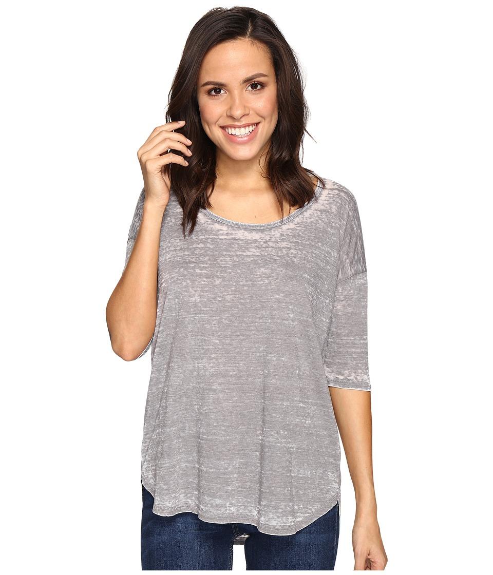 Allen Allen - Elbow Sleeve High-Low Tee (Granite) Women's T Shirt
