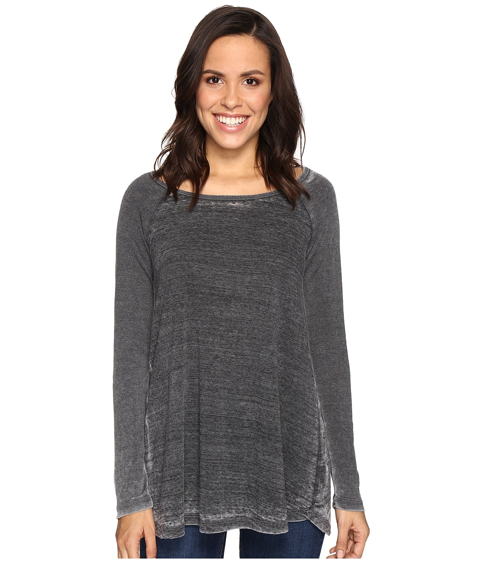 Allen Allen - Raglan Tunic with Ribbed Sleeves (Black) Women's Blouse