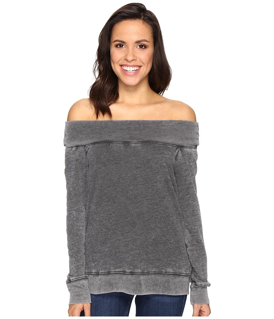 Allen Allen - Off the Shoulder Sweatshirt (Black) Women's Sweatshirt