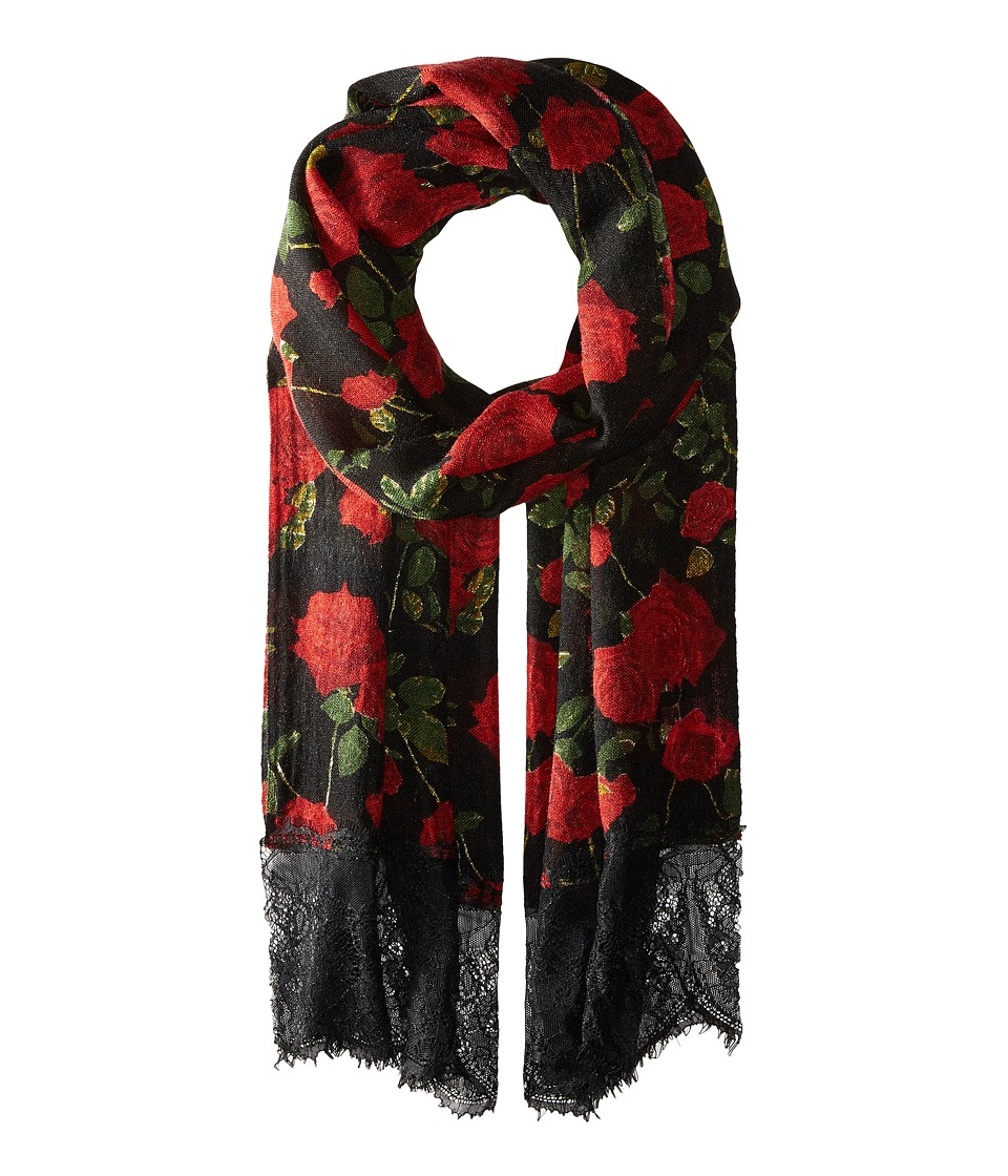 Betsey Johnson - Avantgard Rose Wrap (Black) Scarves