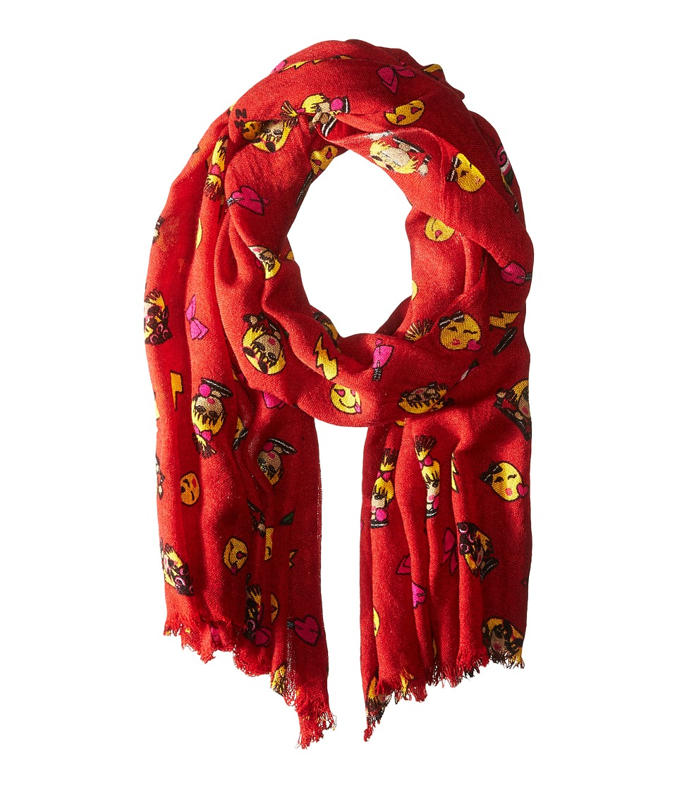 Betsey Johnson - Betmoji Day Wrap (Red) Scarves