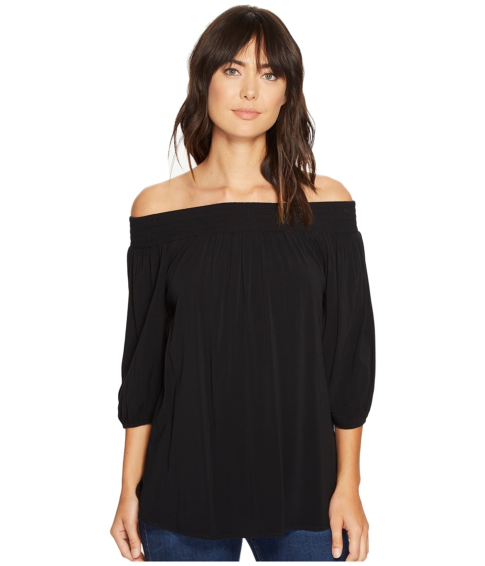 Allen Allen - 3/4 Off the Shoulder Top (Black) Women's Clothing