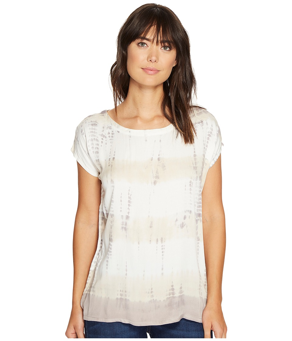 Allen Allen - Multi Stripe Tie-Dye Square Top (Earth) Women's Clothing
