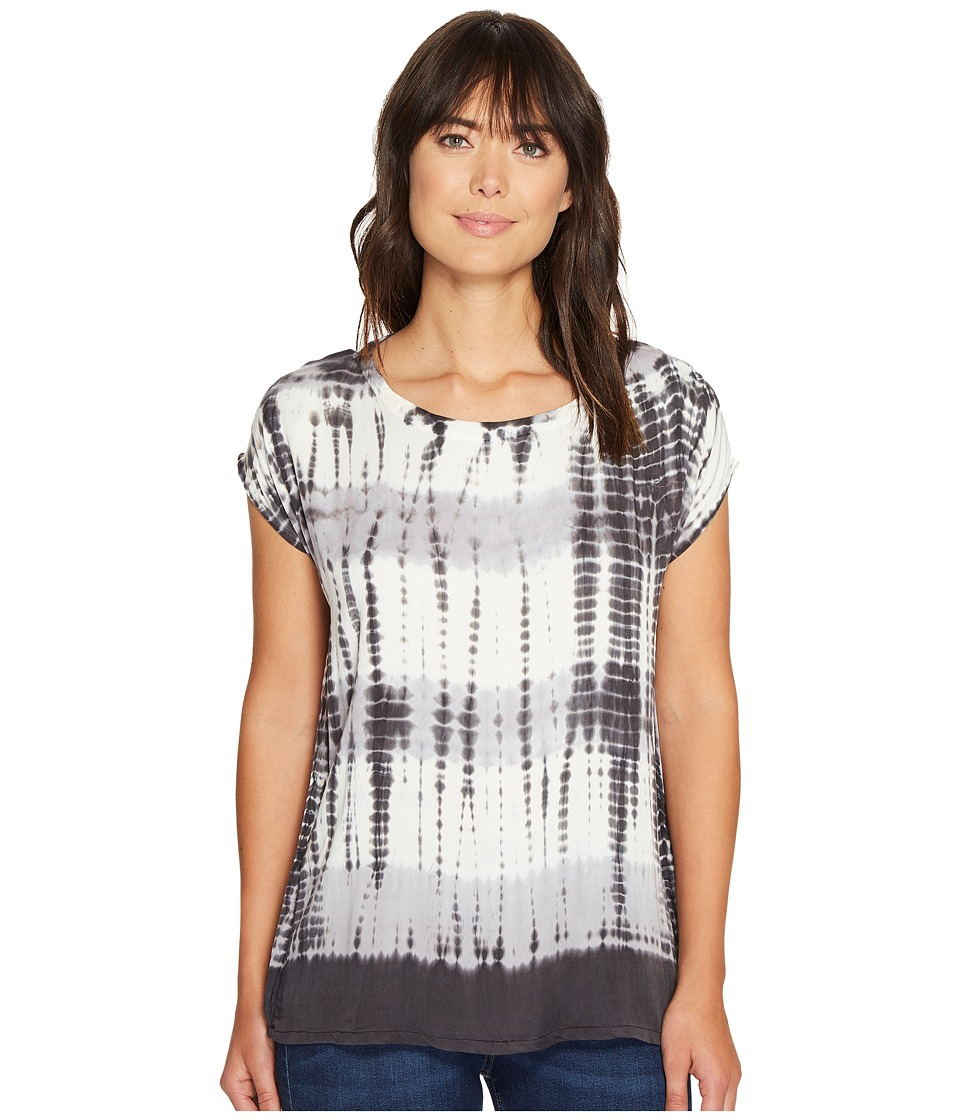 Allen Allen - Multi Stripe Tie-Dye Square Top (Black) Women's Clothing