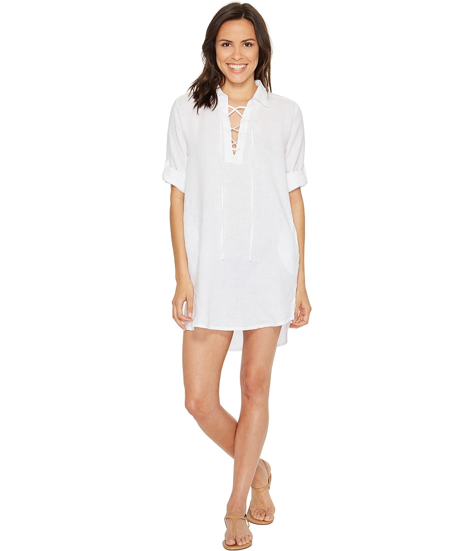 Allen Allen - 3/4 Sleeve Tie Front Dress (White) Women's Dress