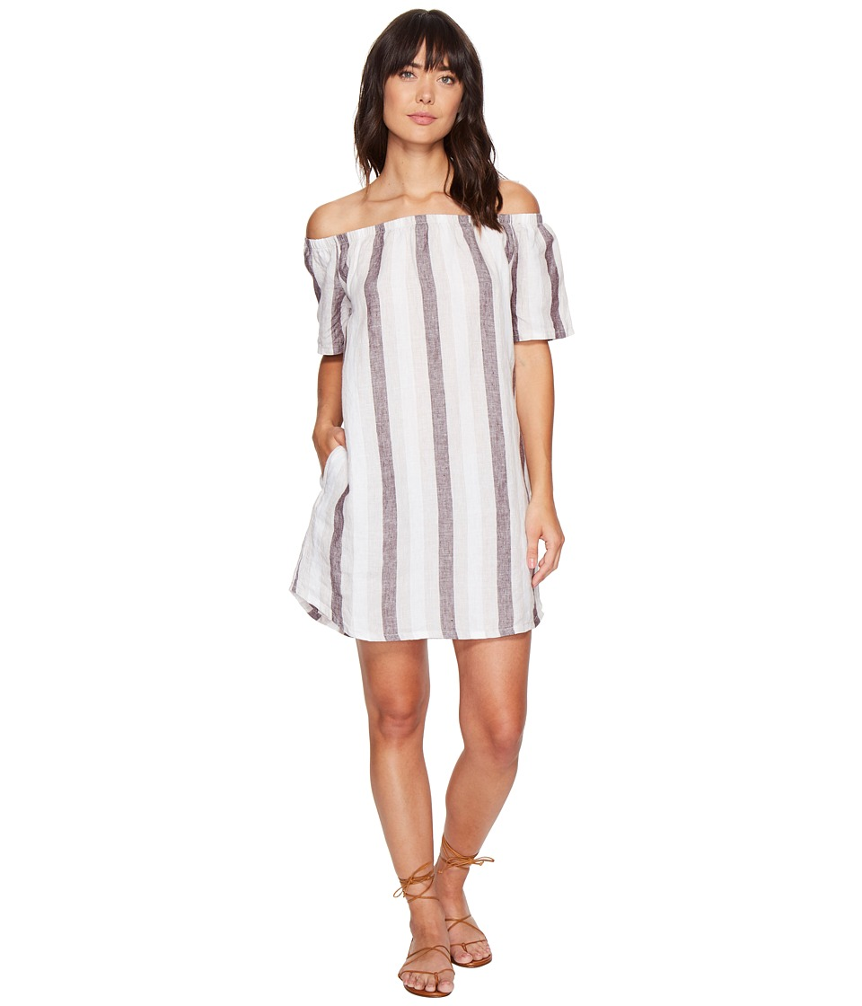 Allen Allen - Two-Pocket Off the Shoulder Stripe Dress (Stone Stripe) Women's Dress