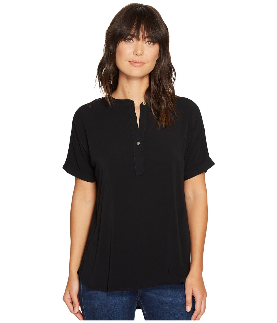 Allen Allen - Tab Collar High-Low Henley Top (Black) Women's Clothing