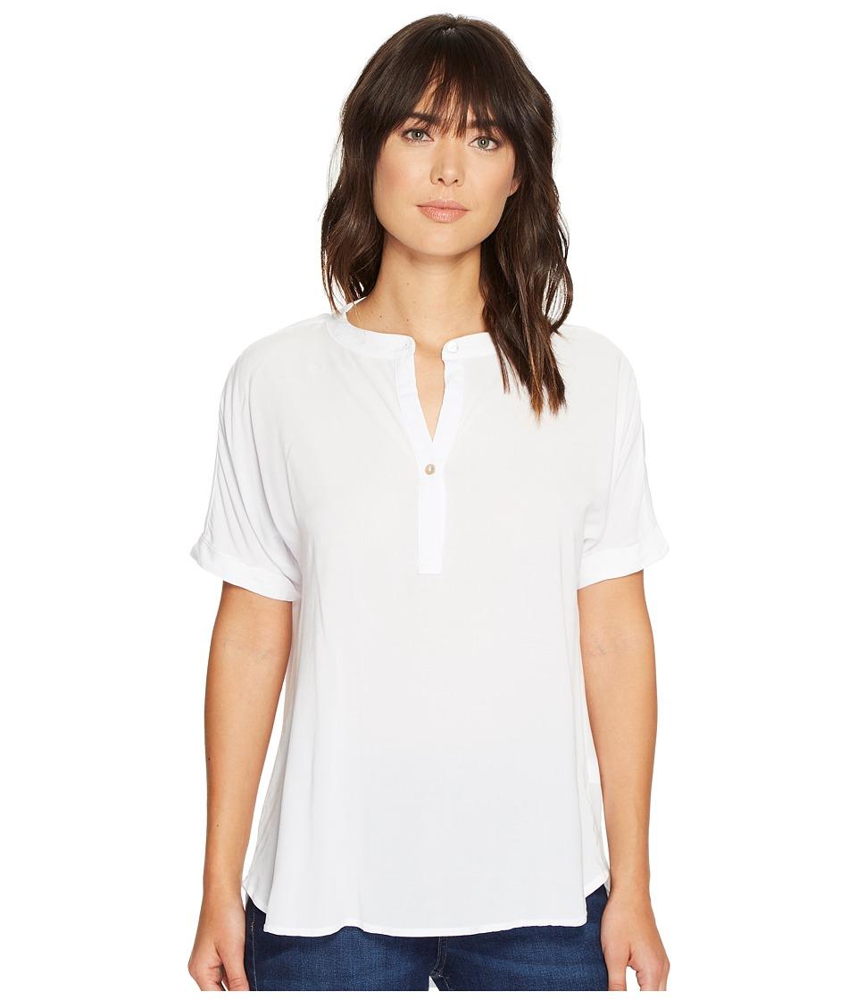 Allen Allen - Tab Collar High-Low Henley Top (White) Women's Clothing