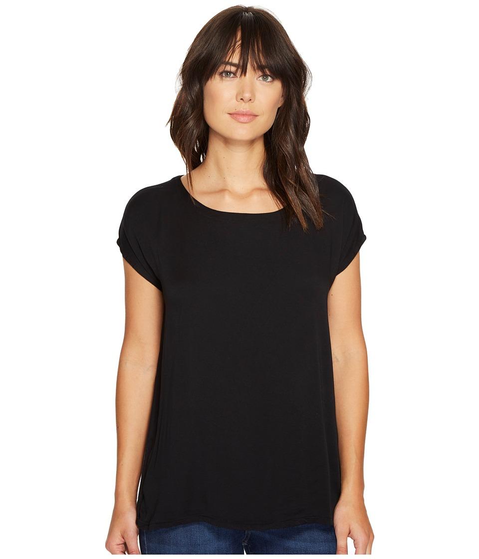 Allen Allen - Short Sleeve Square Top (Black) Women's Short Sleeve Pullover