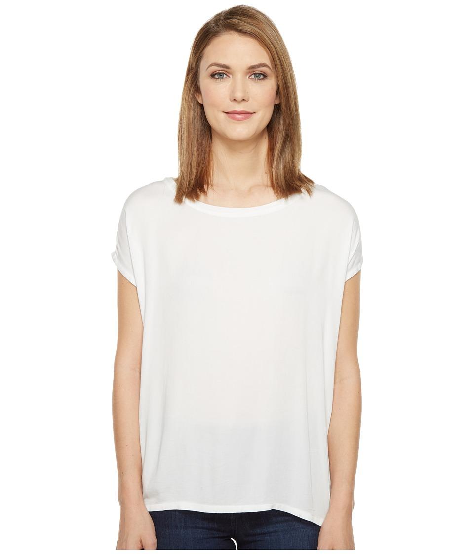 Allen Allen - Short Sleeve Square Top (White) Women's Short Sleeve Pullover