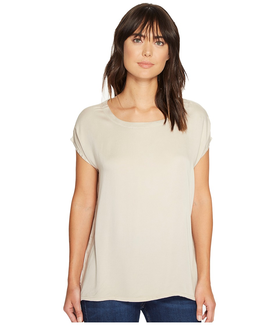 Allen Allen Short Sleeve Square Top (Sand) Women's Short Sleeve Pullover