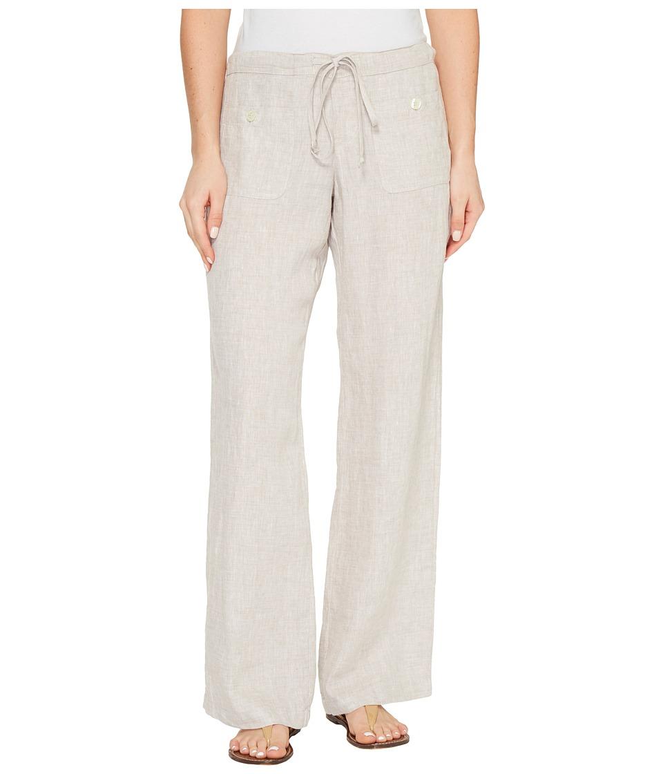 Allen Allen - Four-Pocket Long Linen Pants (Stone) Women's Casual Pants