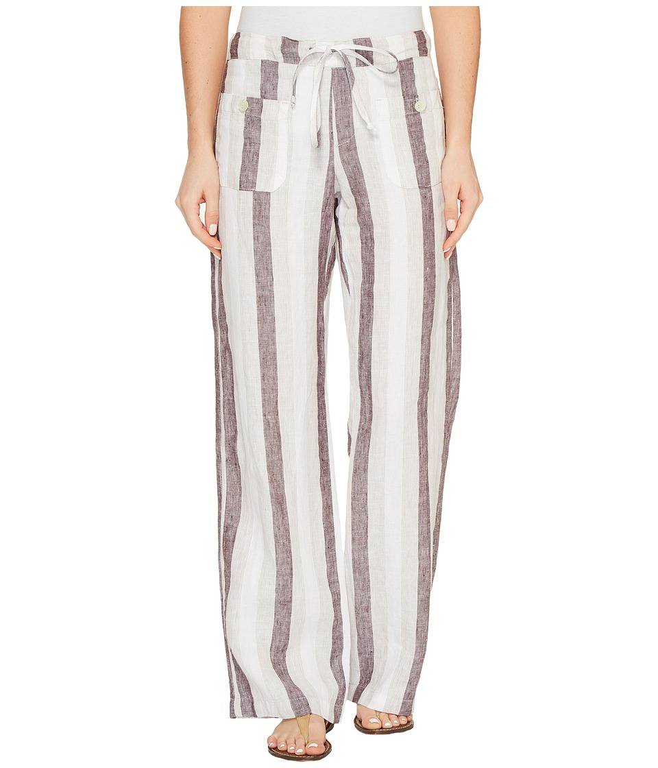 Allen Allen - Four-Pocket Stripe Long Linen Pants (Stone Stripe) Women's Casual Pants