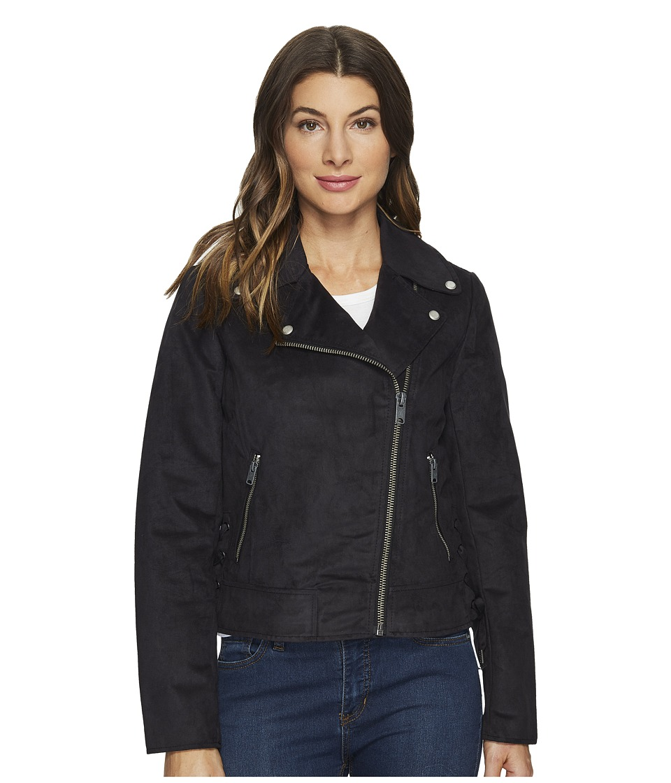 "Marc New York by Andrew Marc - Farryn Faux Suede 21"" Moto Jacket (Black) Women's Coat"