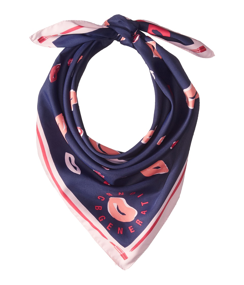 BCBGeneration - Lips Conversational Bandana (Deep Blue) Scarves