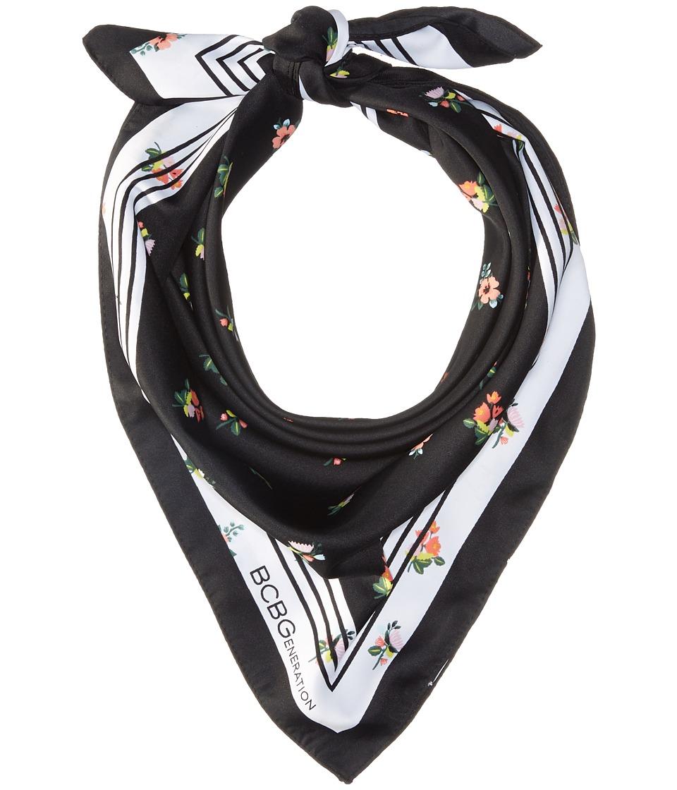 BCBGeneration - Falling Floral Printed Bandana (Black) Scarves