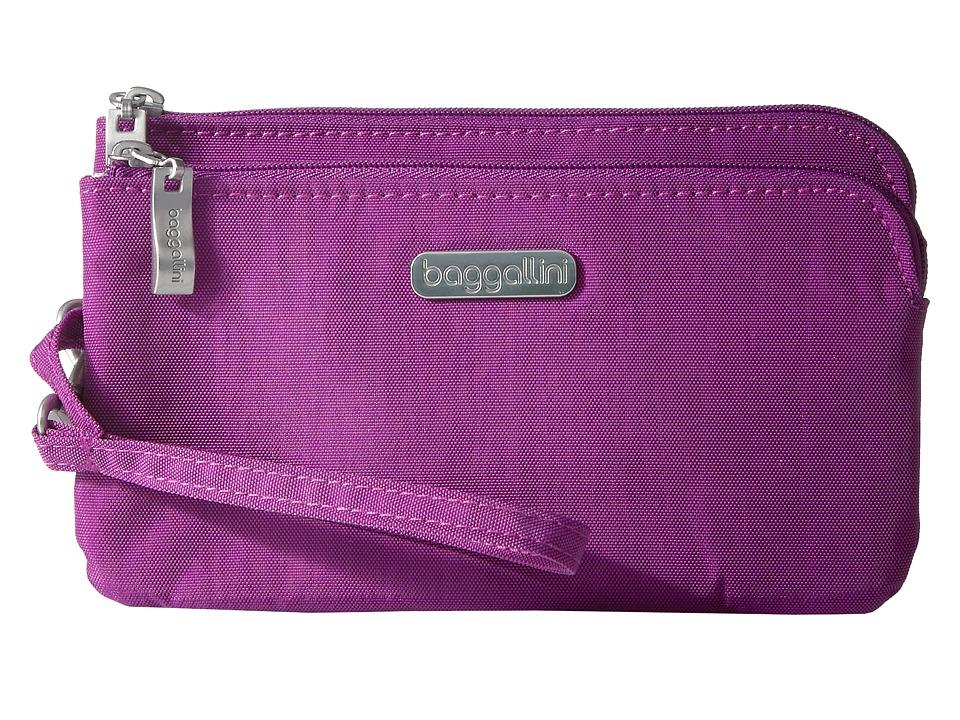 Baggallini - RFID Double Zip Wristlet (Magenta) Wristlet Handbags