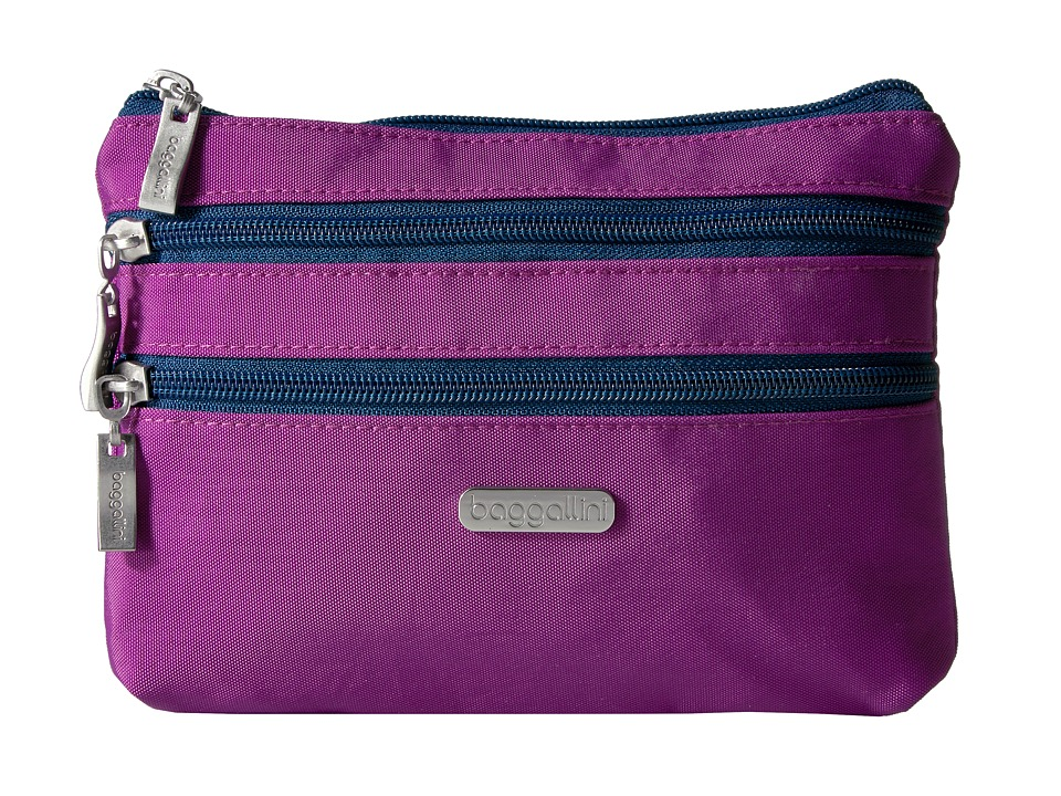Baggallini - 3 Zip Cosmetic Case (Magenta/Pacific) Cosmetic Case