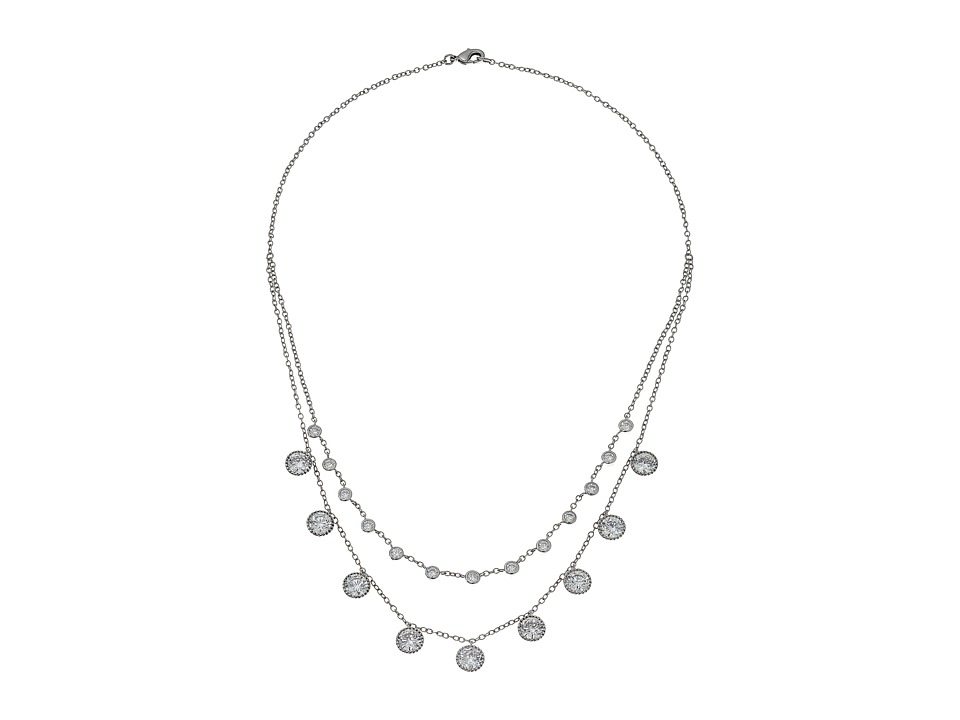 Nina - Aleta Circular Drop Necklace (Rhodium/White) Necklace