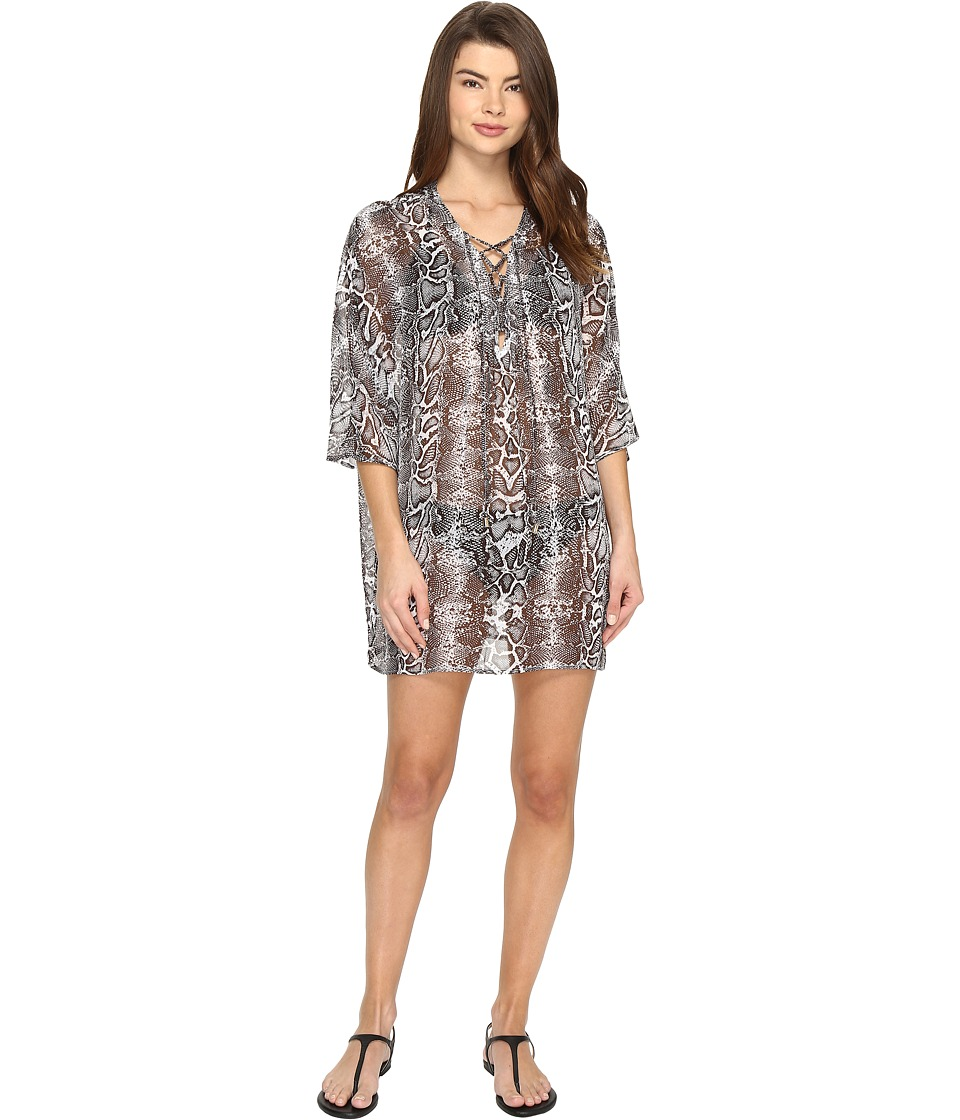 Tommy Bahama Snake Charmer Lace Front Tunic Cover-Up (Espresso) Women