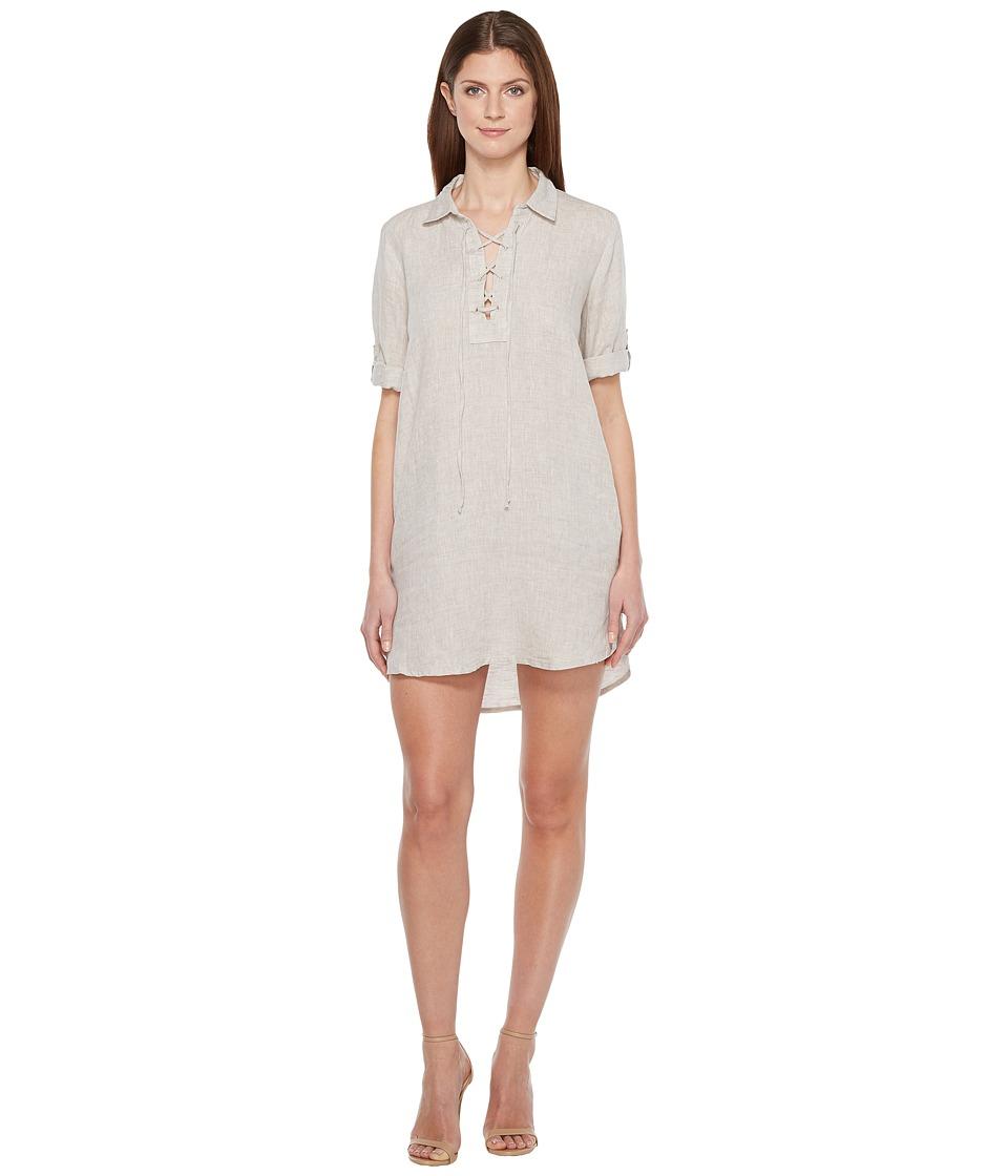 Image of Allen Allen - 3/4 Sleeve Tie Front Dress (Stone) Women's Dress