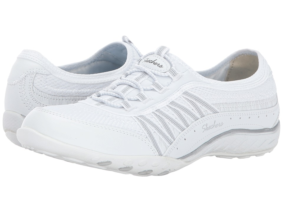 SKECHERS - Breathe-Easy - Point Taken (White Silver) Women's Lace up casual Shoes