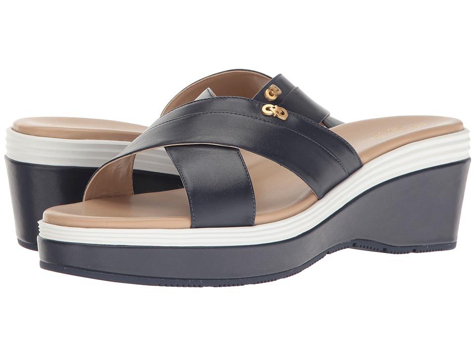Cole Haan Briella Grand Sandal II (Marine Blue Leather/Maple Sugar/Optic White/Marine Blue) Women