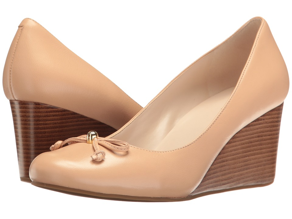 Cole Haan - Elsie Lace Wedge 65mm II (Nude Leather) Women's Wedge Shoes