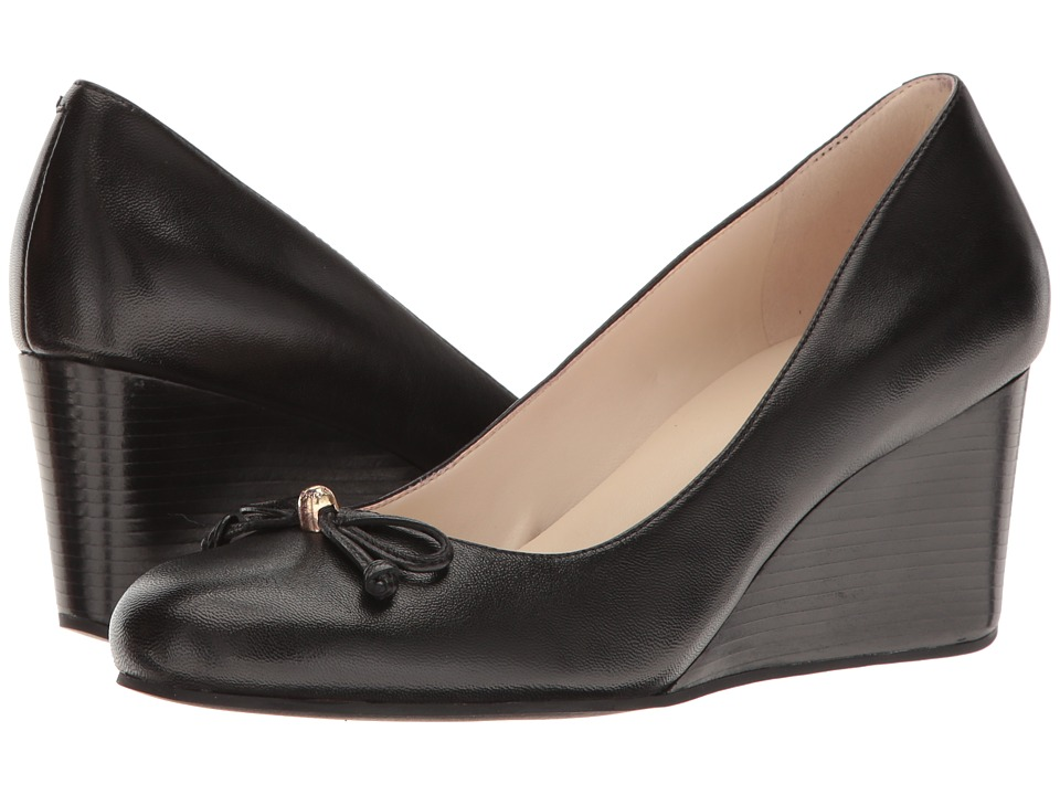 Cole Haan Elsie Lace Wedge 65mm II (Black Leather) Women