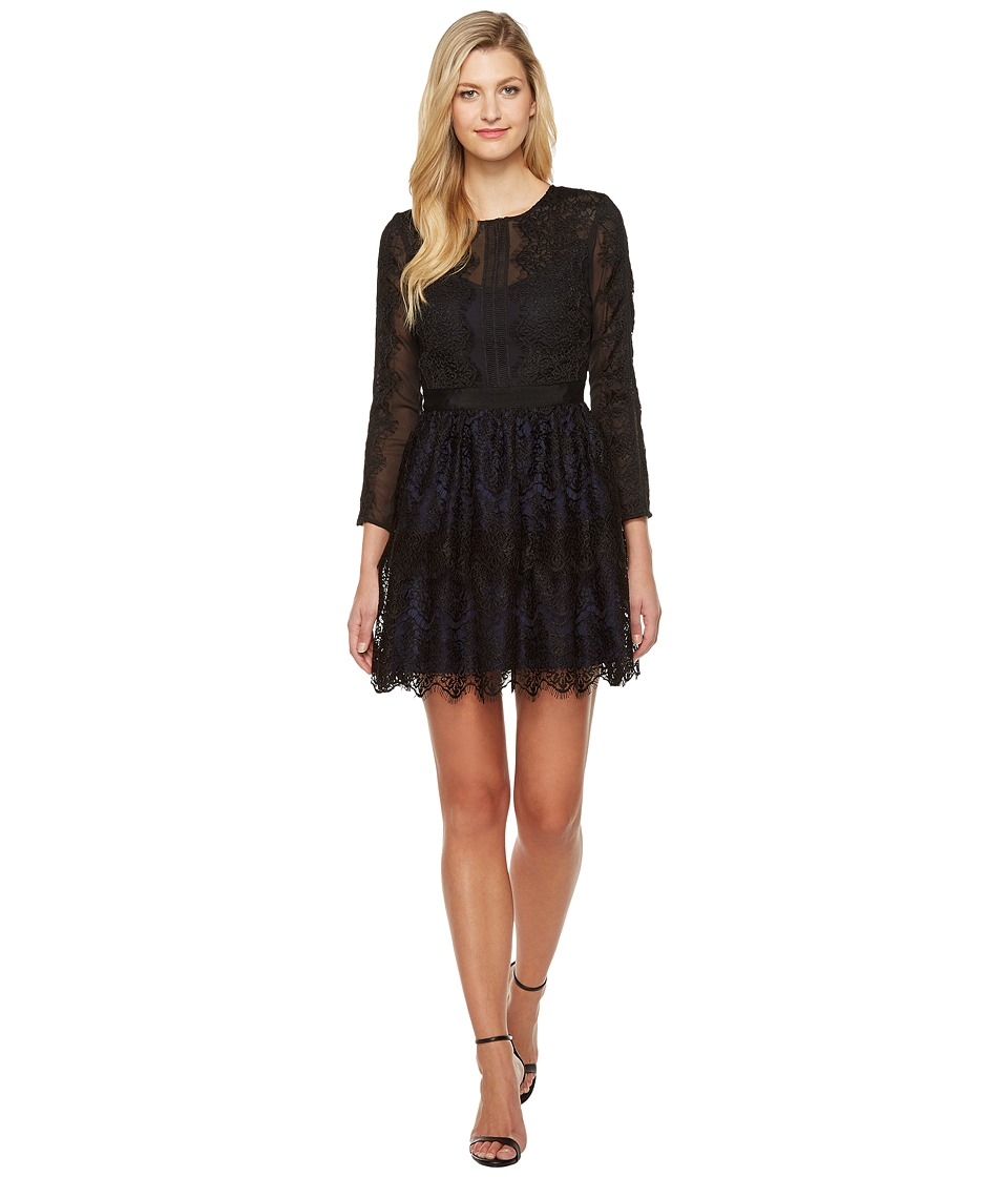 Adelyn Rae - Suzanne Woven Lace Long Sleeve Fit and Flare (Black) Women's Dress