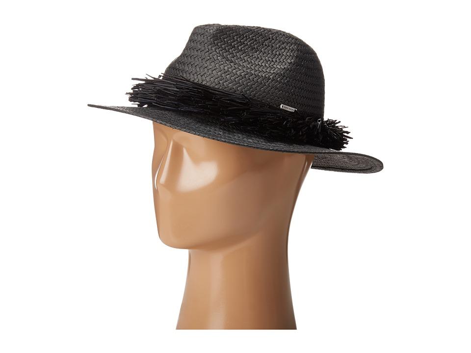 BCBGMAXAZRIA - Straw Fringe Panama (Black) Caps