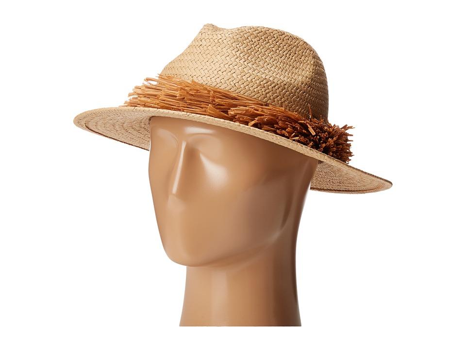 BCBGMAXAZRIA - Straw Fringe Panama (Natural) Caps