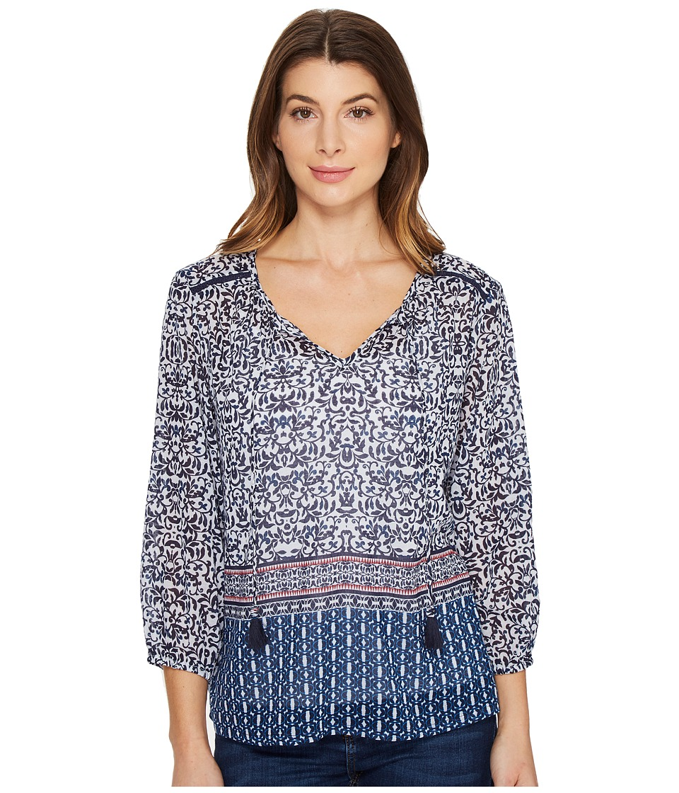 Tommy Bahama - Kamari Damask 3/4 Sleeve Top (Ocean Deep) Women's Clothing