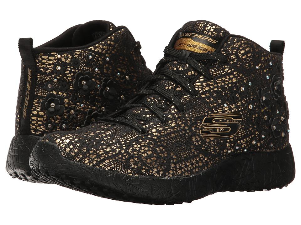 SKECHERS - Burst (Black Gold) Women's Lace up casual Shoes
