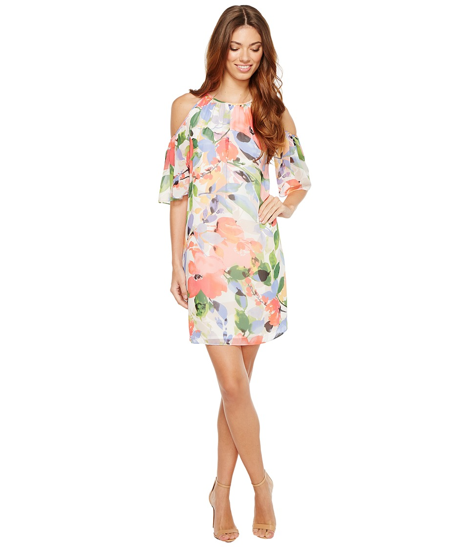 Maggy London - Chiffon Print Cold-Shoulder Shift Dress (Soft White/Bright Pink) Women's Dress
