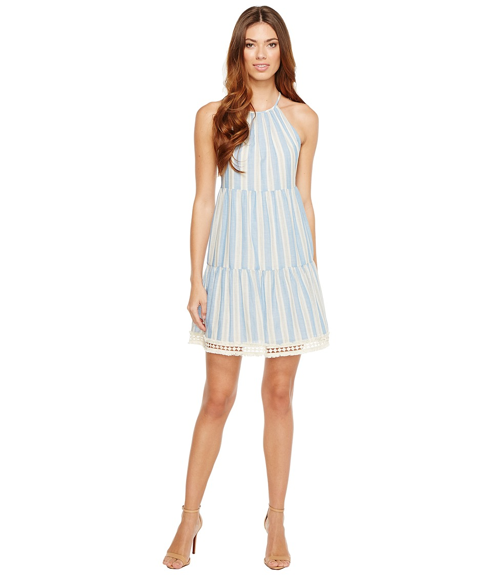 Maggy London - Halter Shift Dress with Shirring (Champagne/Cream) Women's Dress
