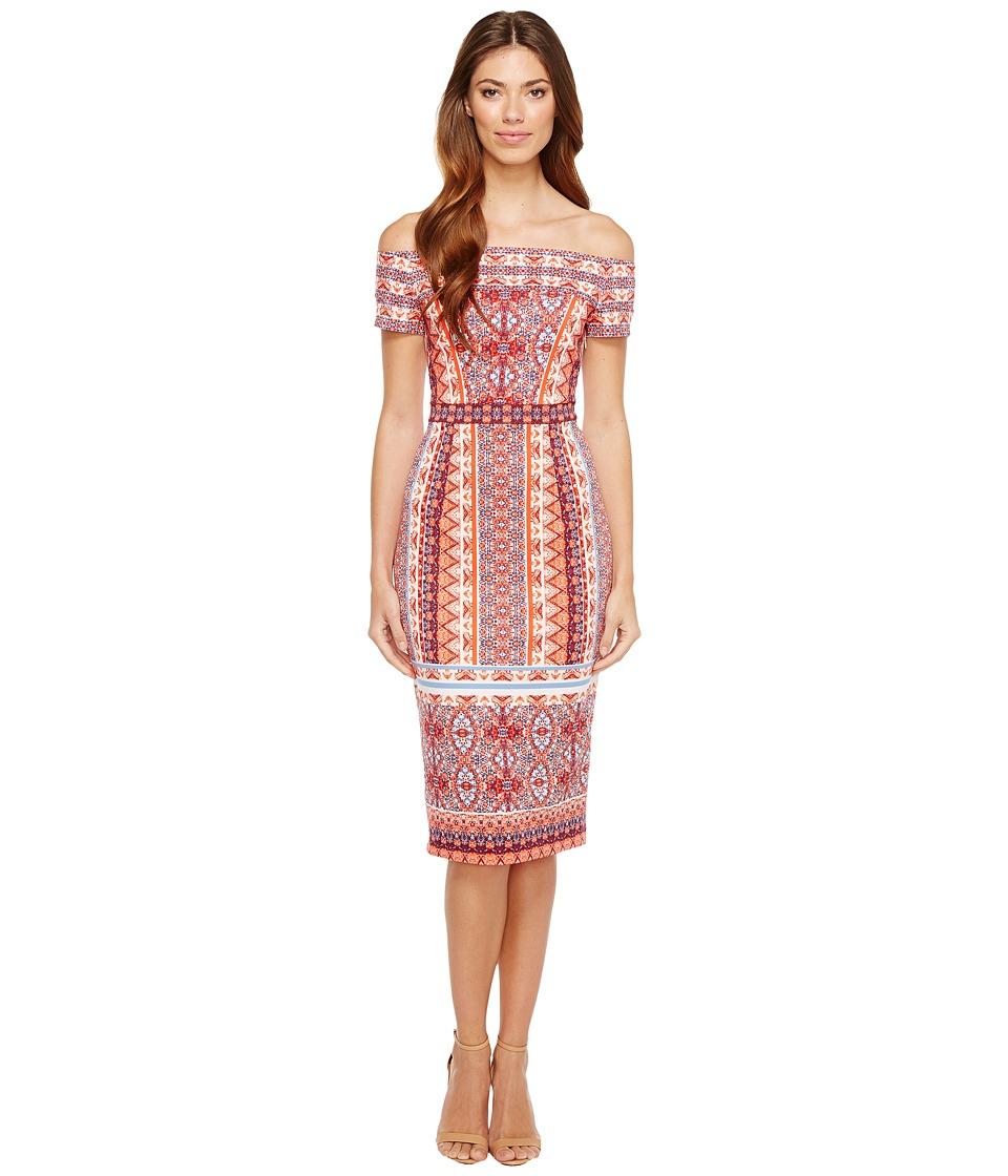 Maggy London - Off the Shoulder Scuba Midi Dress (Orange/Blue) Women's Dress