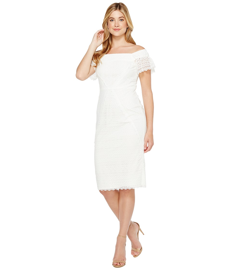 Maggy London - Off the Shoulder Sheath Dress (White) Women's Dress