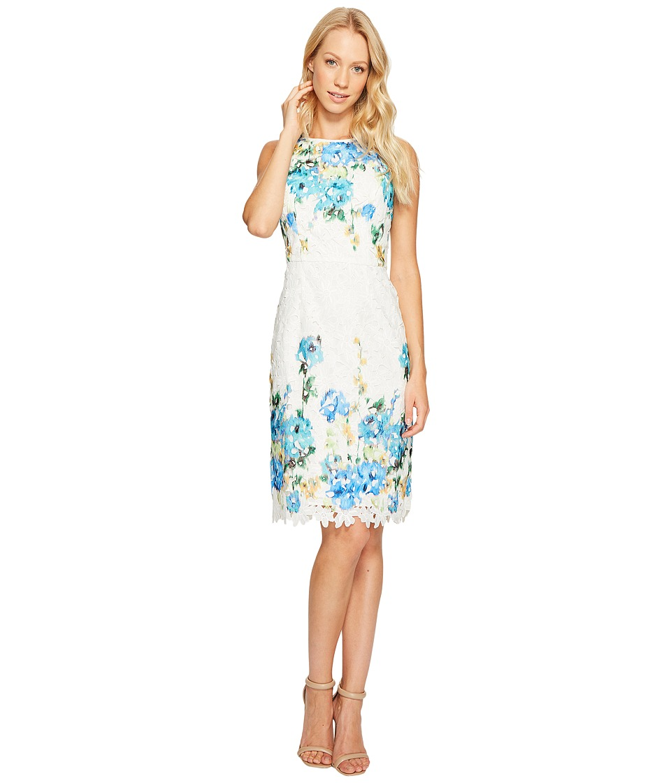 Maggy London - Print Chemical Lace Sheath Dress (Soft White/Blues) Women's Dress