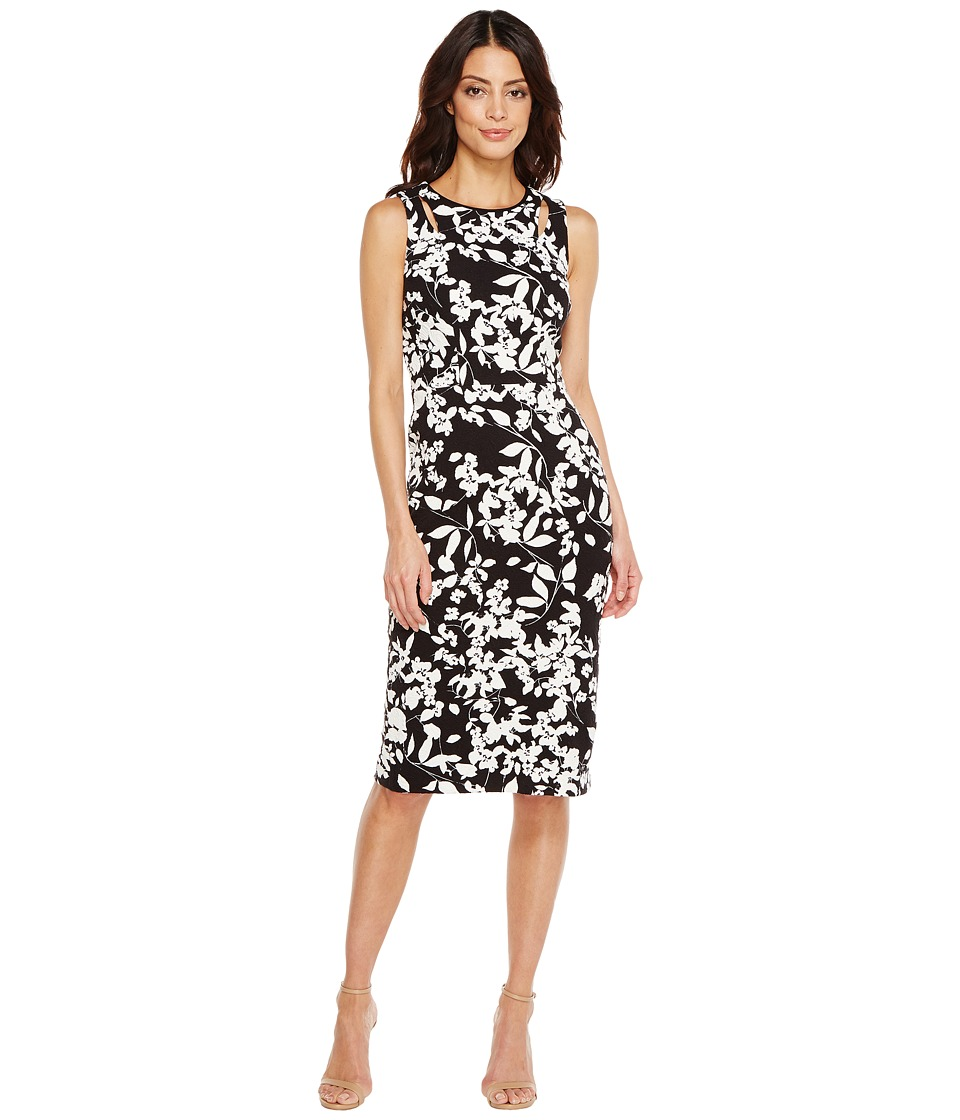 Maggy London - Midi Sheath Dress with Cutouts (Black/Soft White) Women's Dress