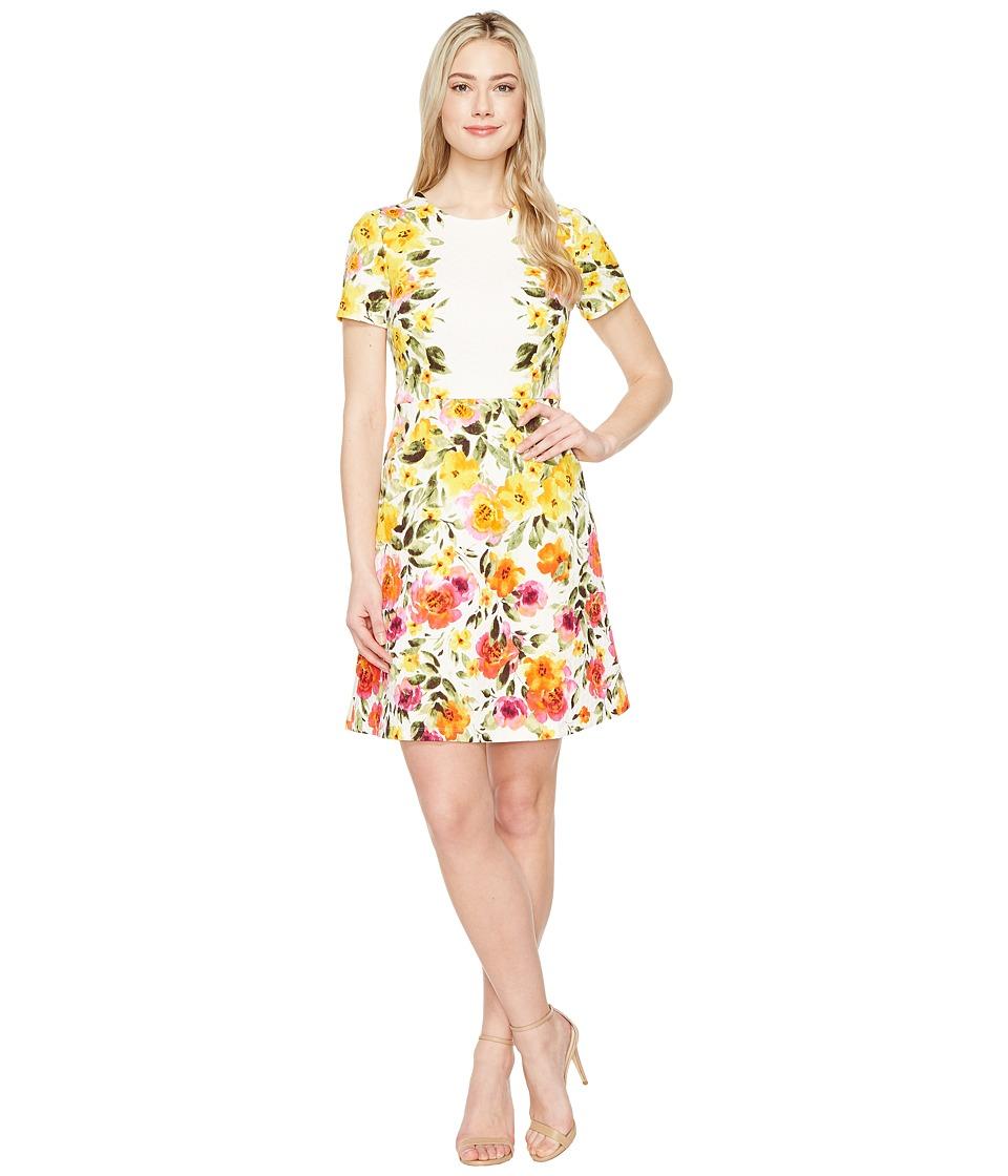 Maggy London - Jewel Neckline Dress with A-Line Skirt (Soft White/Sun) Women's Dress