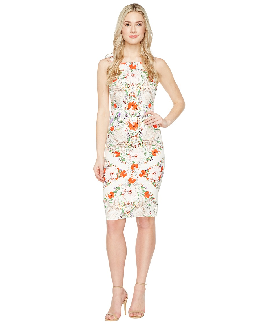 Maggy London - Square Neck Midi Sheath Dress (White/Coral) Women's Dress