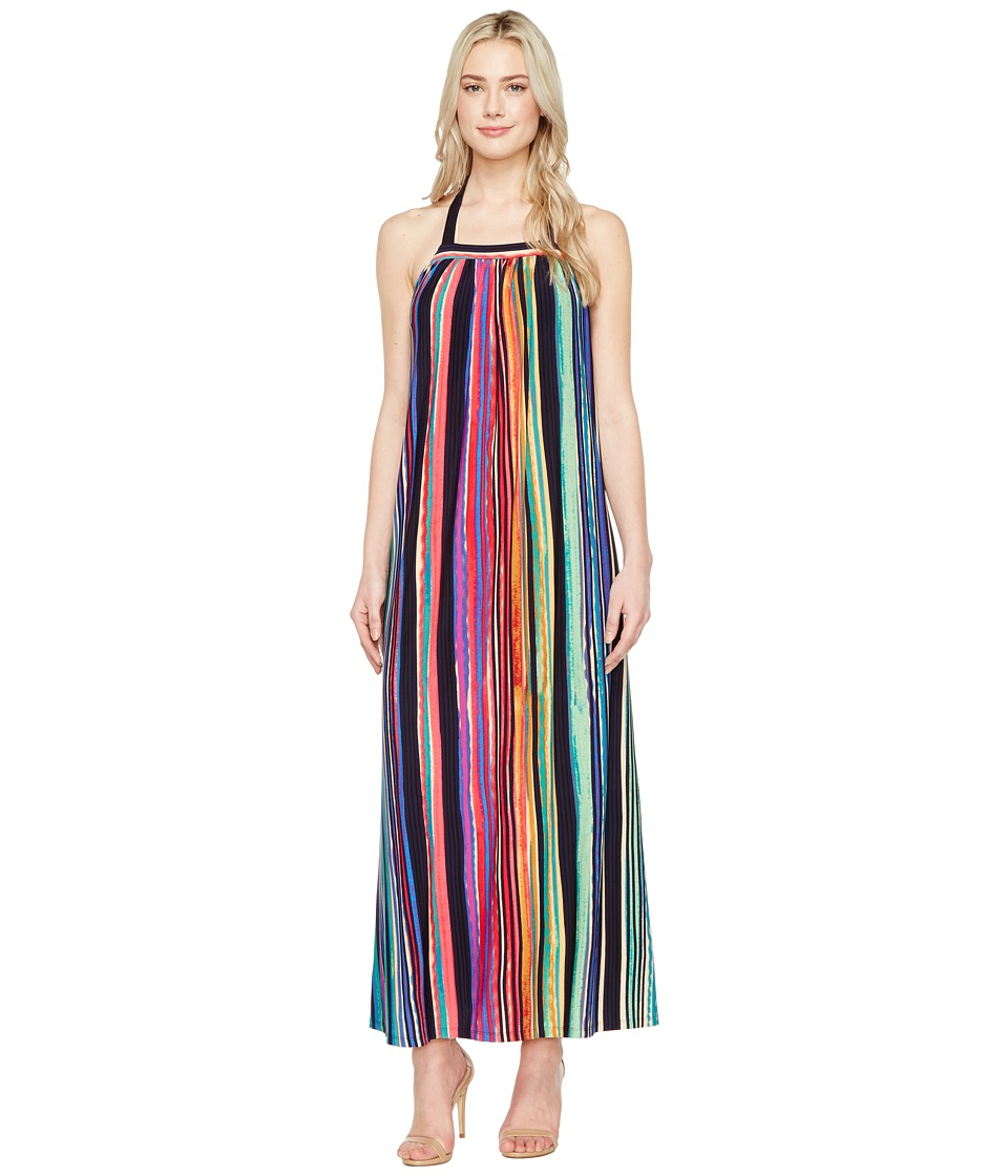Maggy London - Painted Stripe Maxi Dress (Taupe/Multi) Women's Dress