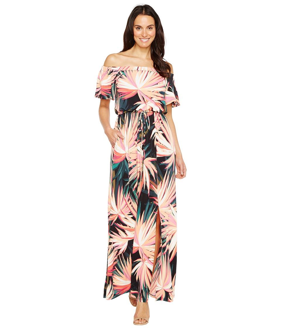 Maggy London Off the Shoulder Maxi Dress (Soft White/Orange) Women