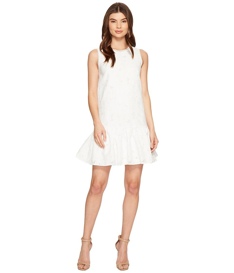 Maggy London Circle Cut Out Back Drop-Waist Dress (White) Women