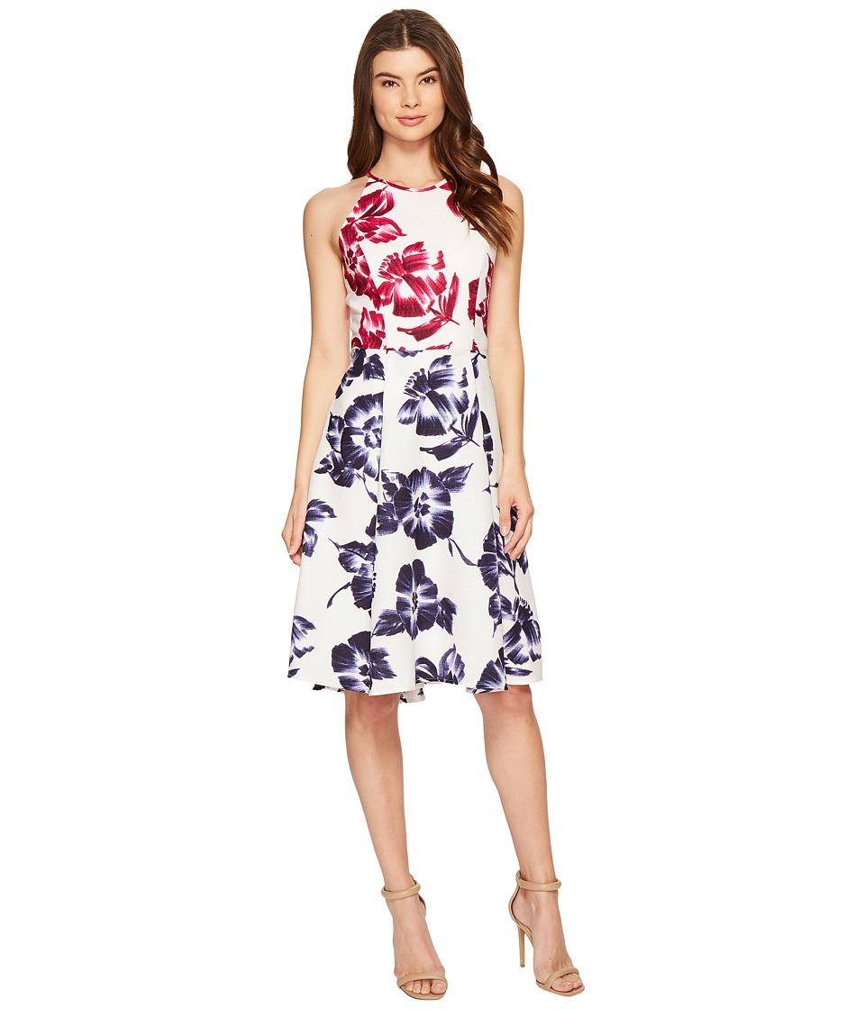 Maggy London - Drapey Linen Sketch Blossom Hi-Lo Fit Flare Dress (White/Flambe) Women's Dress