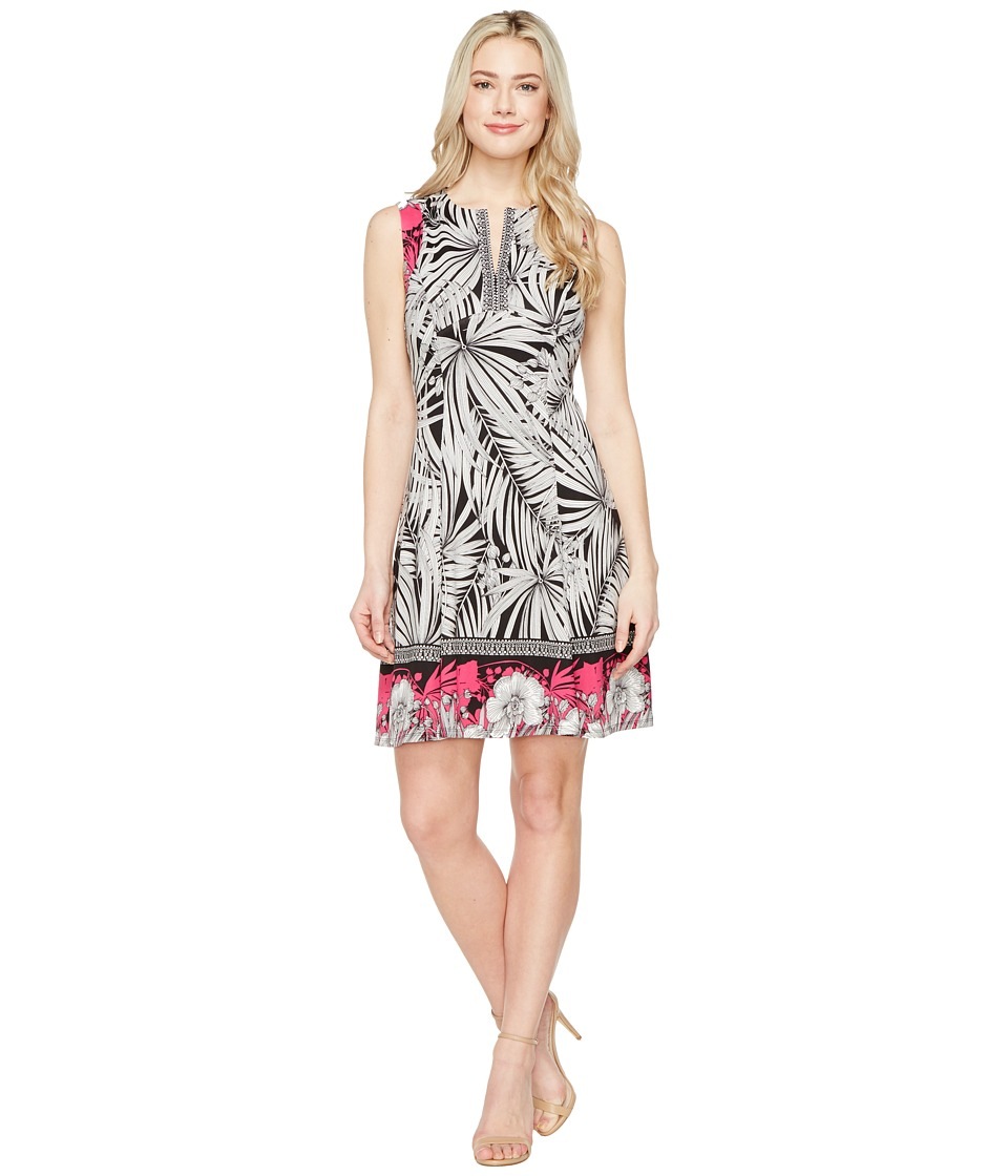 Maggy London Print Scuba Fit and Flare Dress (White/Black/Pink) Women