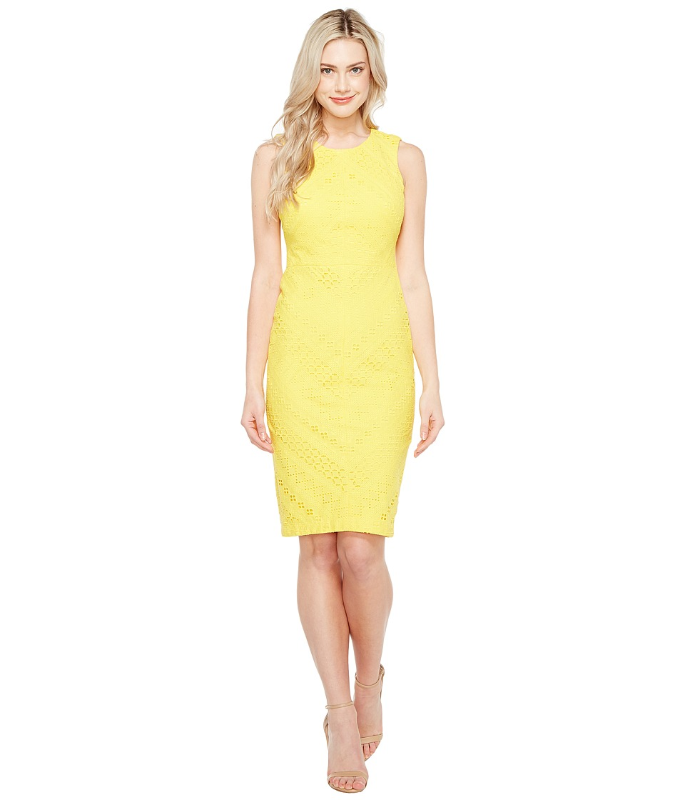 Maggy London - Ribbon Eyelet Sheath Dress (Soleil) Women's Dress